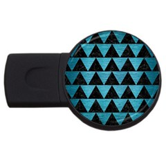 Triangle2 Black Marble & Teal Brushed Metal Usb Flash Drive Round (4 Gb) by trendistuff