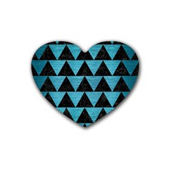 Triangle2 Black Marble & Teal Brushed Metal Heart Coaster (4 Pack)  by trendistuff