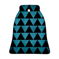 Triangle2 Black Marble & Teal Brushed Metal Bell Ornament (two Sides) by trendistuff