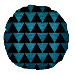 Triangle2 Black Marble & Teal Brushed Metal Large 18  Premium Round Cushions by trendistuff