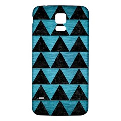 Triangle2 Black Marble & Teal Brushed Metal Samsung Galaxy S5 Back Case (white) by trendistuff
