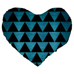 Triangle2 Black Marble & Teal Brushed Metal Large 19  Premium Flano Heart Shape Cushions by trendistuff