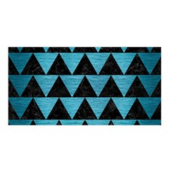 Triangle2 Black Marble & Teal Brushed Metal Satin Shawl by trendistuff