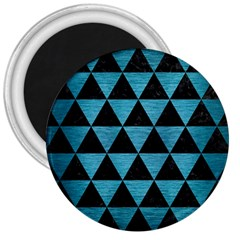 Triangle3 Black Marble & Teal Brushed Metal 3  Magnets by trendistuff