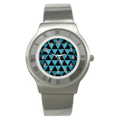 Triangle3 Black Marble & Teal Brushed Metal Stainless Steel Watch by trendistuff