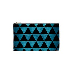 Triangle3 Black Marble & Teal Brushed Metal Cosmetic Bag (small)  by trendistuff