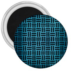 Woven1 Black Marble & Teal Brushed Metal 3  Magnets by trendistuff