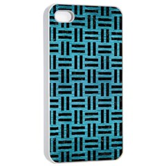 Woven1 Black Marble & Teal Brushed Metal Apple Iphone 4/4s Seamless Case (white) by trendistuff