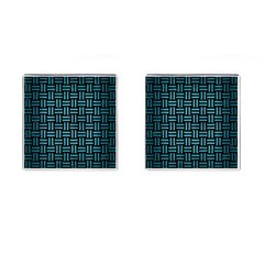 Woven1 Black Marble & Teal Brushed Metal (r) Cufflinks (square) by trendistuff