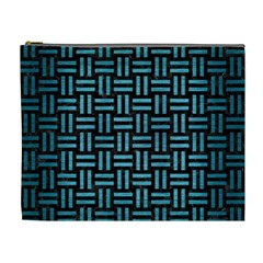 Woven1 Black Marble & Teal Brushed Metal (r) Cosmetic Bag (xl) by trendistuff