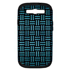 Woven1 Black Marble & Teal Brushed Metal (r) Samsung Galaxy S Iii Hardshell Case (pc+silicone) by trendistuff