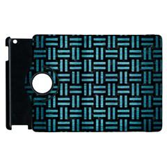 Woven1 Black Marble & Teal Brushed Metal (r) Apple Ipad 3/4 Flip 360 Case by trendistuff