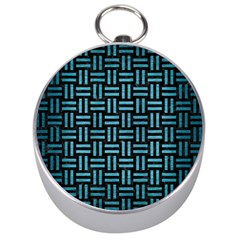 Woven1 Black Marble & Teal Brushed Metal (r) Silver Compasses by trendistuff