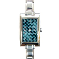 Woven2 Black Marble & Teal Brushed Metal Rectangle Italian Charm Watch by trendistuff