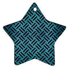 Woven2 Black Marble & Teal Brushed Metal Ornament (star) by trendistuff