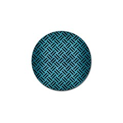 Woven2 Black Marble & Teal Brushed Metal Golf Ball Marker by trendistuff