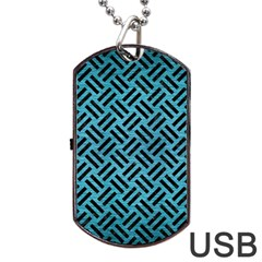 Woven2 Black Marble & Teal Brushed Metal Dog Tag Usb Flash (one Side) by trendistuff