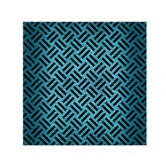 Woven2 Black Marble & Teal Brushed Metal Small Satin Scarf (square) by trendistuff