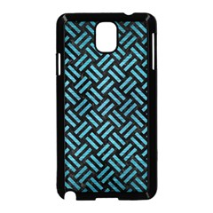 Woven2 Black Marble & Teal Brushed Metal (r) Samsung Galaxy Note 3 Neo Hardshell Case (black) by trendistuff