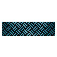 Woven2 Black Marble & Teal Brushed Metal (r) Satin Scarf (oblong) by trendistuff