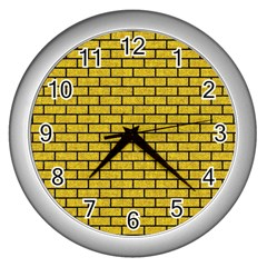 Brick1 Black Marble & Yellow Denim Wall Clocks (silver)  by trendistuff