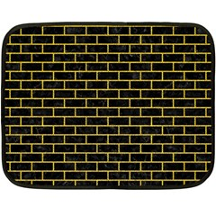 Brick1 Black Marble & Yellow Denim (r) Fleece Blanket (mini) by trendistuff