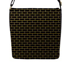 Brick1 Black Marble & Yellow Denim (r) Flap Messenger Bag (l)  by trendistuff