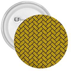 Brick2 Black Marble & Yellow Denim 3  Buttons by trendistuff