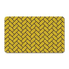 Brick2 Black Marble & Yellow Denim Magnet (rectangular) by trendistuff