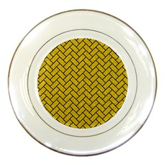 Brick2 Black Marble & Yellow Denim Porcelain Plates by trendistuff