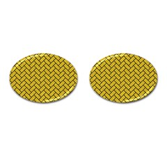 Brick2 Black Marble & Yellow Denim Cufflinks (oval) by trendistuff