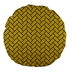 Brick2 Black Marble & Yellow Denim Large 18  Premium Flano Round Cushions by trendistuff