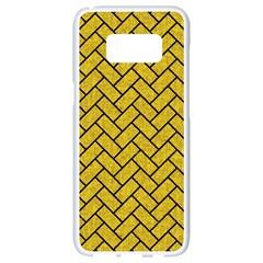 Brick2 Black Marble & Yellow Denim Samsung Galaxy S8 White Seamless Case by trendistuff