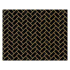Brick2 Black Marble & Yellow Denim (r) Rectangular Jigsaw Puzzl by trendistuff