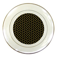 Brick2 Black Marble & Yellow Denim (r) Porcelain Plates by trendistuff