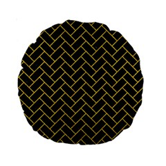 Brick2 Black Marble & Yellow Denim (r) Standard 15  Premium Round Cushions by trendistuff