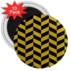 Chevron1 Black Marble & Yellow Denim 3  Magnets (10 Pack)  by trendistuff