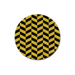 Chevron1 Black Marble & Yellow Denim Magnet 3  (round) by trendistuff