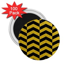 Chevron2 Black Marble & Yellow Denim 2 25  Magnets (100 Pack)  by trendistuff