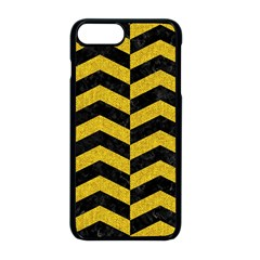 Chevron2 Black Marble & Yellow Denim Apple Iphone 8 Plus Seamless Case (black) by trendistuff