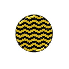 Chevron3 Black Marble & Yellow Denim Hat Clip Ball Marker (10 Pack) by trendistuff