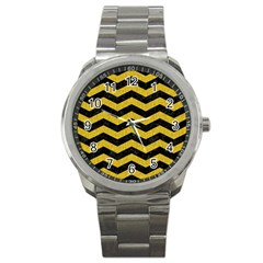 Chevron3 Black Marble & Yellow Denim Sport Metal Watch by trendistuff