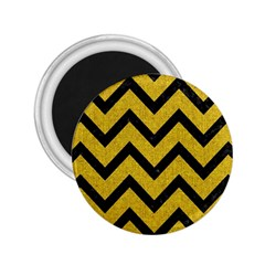 Chevron9 Black Marble & Yellow Denim 2 25  Magnets by trendistuff