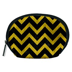 Chevron9 Black Marble & Yellow Denim (r) Accessory Pouches (medium)  by trendistuff