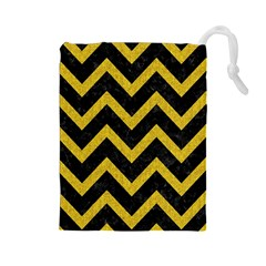 Chevron9 Black Marble & Yellow Denim (r) Drawstring Pouches (large)