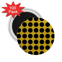 Circles1 Black Marble & Yellow Denim 2 25  Magnets (100 Pack)  by trendistuff