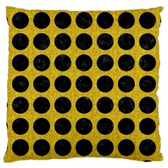 Circles1 Black Marble & Yellow Denim Large Cushion Case (two Sides) by trendistuff