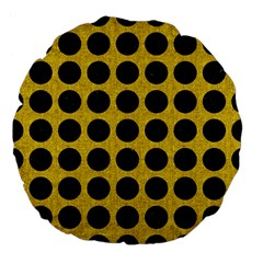 Circles1 Black Marble & Yellow Denim Large 18  Premium Flano Round Cushions by trendistuff