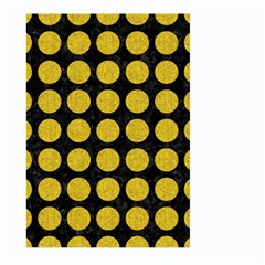 Circles1 Black Marble & Yellow Denim (r) Large Garden Flag (two Sides) by trendistuff