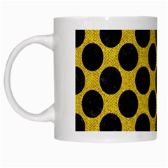 Circles2 Black Marble & Yellow Denim White Mugs by trendistuff